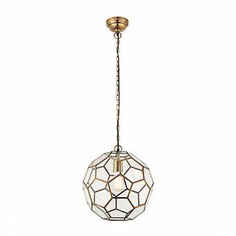 1 Light Spherical Ceiling Pendant Antique Brass, Glass