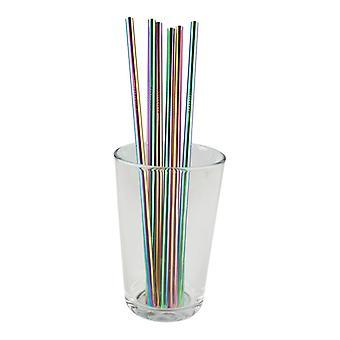 6x straight metal Straw-rainbow