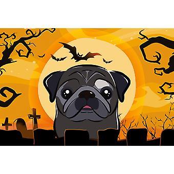 Carolines Treasures  BB1821PLMT Halloween Black Pug Fabric Placemat