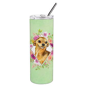 Chihuahua #1 Green Flowers Double Walled Stainless Steel 20 oz Skinny Tumbler