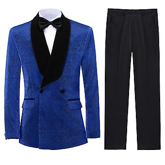 Allthemen Men's Wool Tuxedos 2-Pieces Suits Double-Breasted Banquet Wedding Blazer&Pants