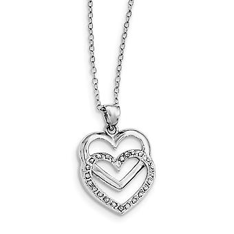 925 Sterling Silver Polished Gift Boxed Spring Ring Platinum plated Diamond Mystique 18inch Dangle Love Heart Necklace J