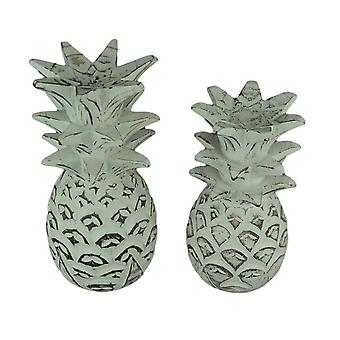 Distressed White Carved Wood Tropical Pineapple Decor Statues Set of 2