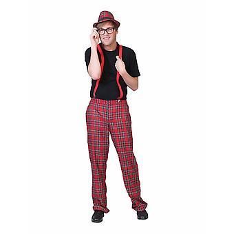 Rutig skotsk byxa mäns kostym Schoolboy nörd mäns kostym