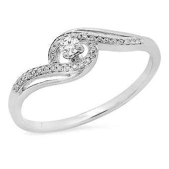 Dazzlingrock Collection 0.15 Carat (ctw) 10K Round White Diamond Split Shank Bridal Engagement Ring, White Gold