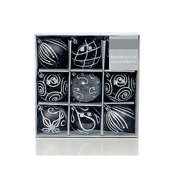 9 Black 6cm Embellished Shatterproof Christmas Tree Bauble Decorations