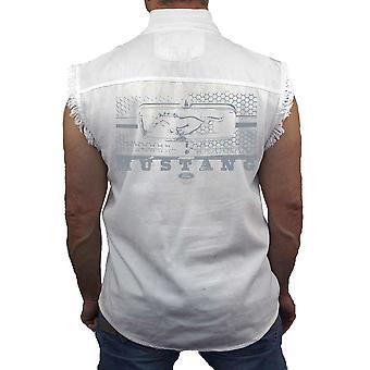 Мужская рукавов Джинсовая рубашка Ford Mustang Сота решетка байкер