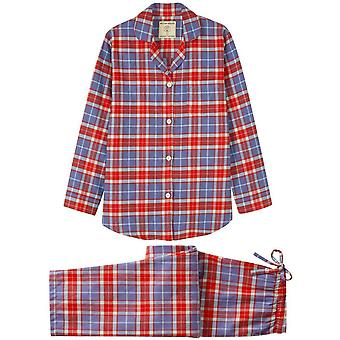 British Boxers Thorncliffe Two Fold Flannel Pyjama Set - Red/Blue