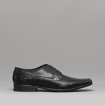 Base London Lytham Mens Leather Derby Shoes Waxy Black