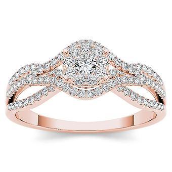 Igi-certifierad 10k roséguld 0,50 ct naturlig diamant halo förlovningsring