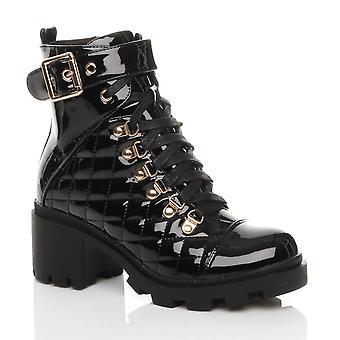 Ajvani kvinners midten blokk hæl blonder opp zip vattert bekjempe ankel støvler