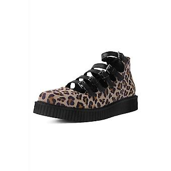TUK Shoes Leopard Vegan Suede Pointed Multi-Strap Mary Jane