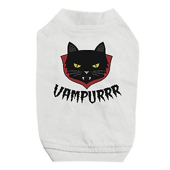 Vampurrr Funny Halloween Graphic Design White Pet Shirt for Small Dogs