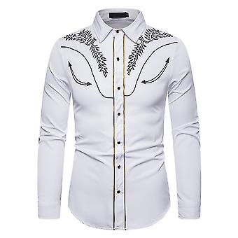 Allthemen Men's Casual Fashion Embroidered Covered Lapel Long-sleeve Shirt