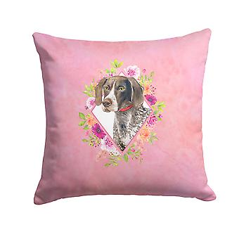 German Shorthaired Pointer Pink Flowers Fabric Decorative Pillow