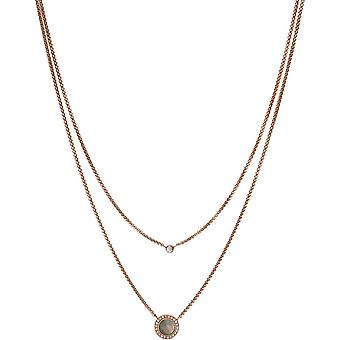 Necklace and pendant jewelry JF02953791 - necklace and pendant steel mother-of-Pearl woman Zircons Fossil