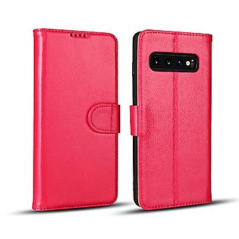 Para Samsung Galaxy S10e Case, Pink Fashion Cowhide Capa de carteira de couro genuína