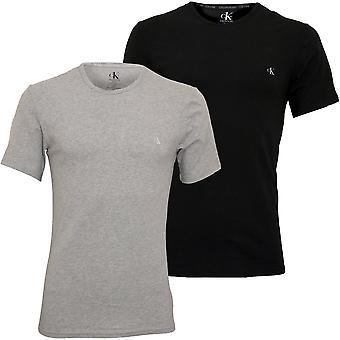 Calvin Klein 2-Pack CK1 Crew-Neck Stretch Cotton T-Shirts, Grey/Black