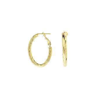 14k oro amarillo torcido tubo ovalado pendientes Omega Clip joyería regalos para las mujeres - 2.2 gramos