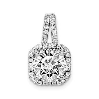 925 Sterling Silver Rhodium platedCZ Cubic Zirconia Simulated Diamond Halo Pendant Necklace Jewelry Gifts for Women