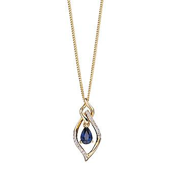 Joshua James Precious 9ct Yellow Gold With Sapphire & Diamond Open Marquise Pendant