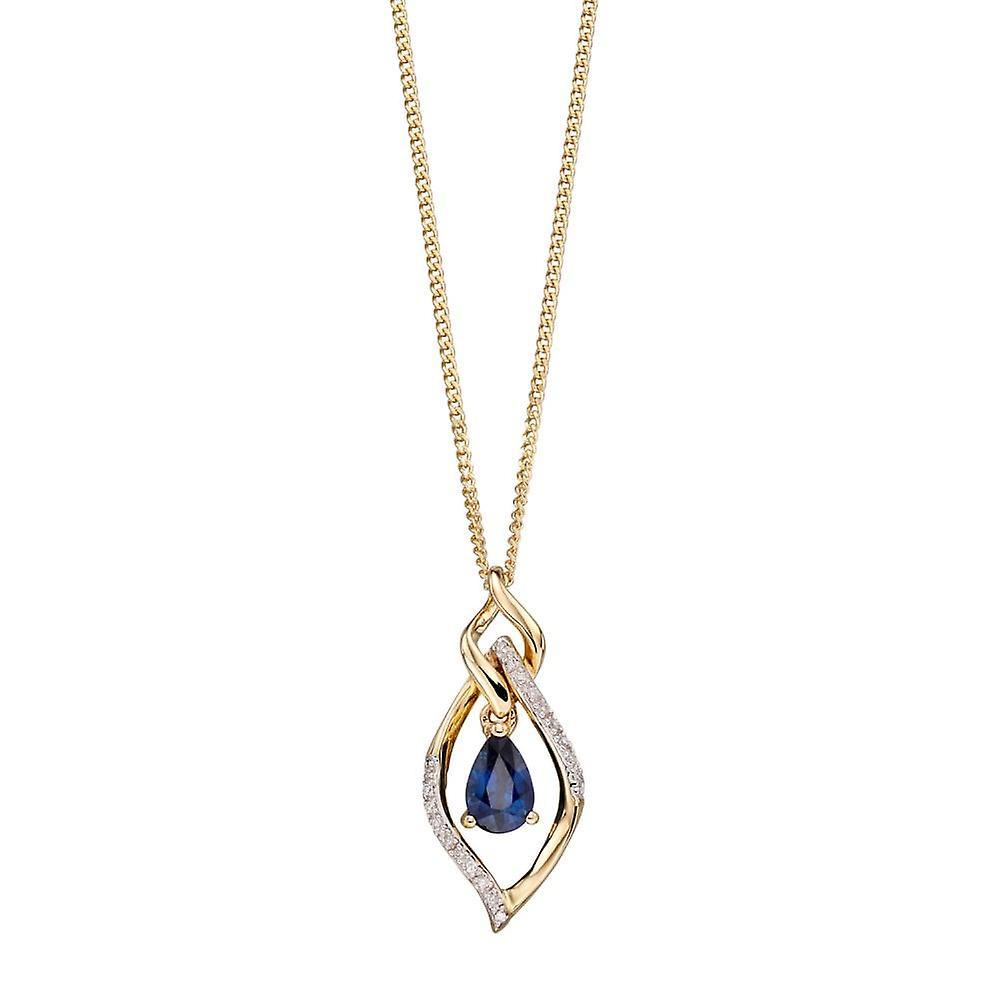 Joshua James Precious 9ct Yellow Gold With Sapphire & Diamond Open Marquise Pendant