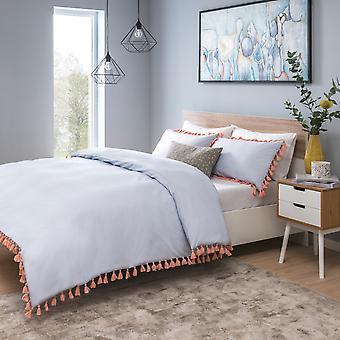 Tassels Blue With Pink Bedding Set