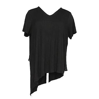 Lisa Rinna Women's Top V-Neck w/ Chiffon Back Detail Black A303168