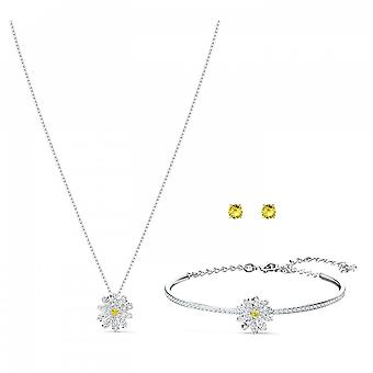 Swarovski Eternal Flower Mixed Metal With White & Yellow Crystal Set