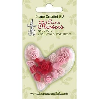 LeCrea - Resin flowers Roses pink-red 72.2212 4x 18mm+12x 10mm