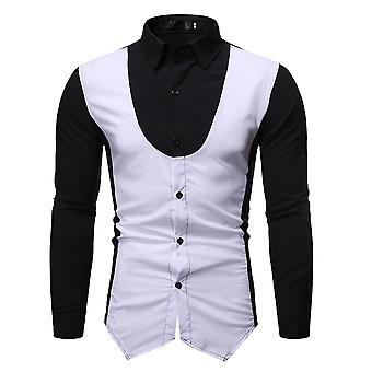 Allthemen Muži & apos, s Fake Vest vzorované šaty košile solid shirt pro denní oblečení