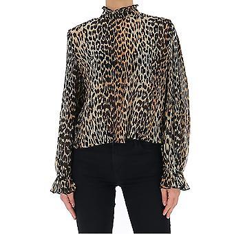 Ganni F4394943 Women's Leopard Silk Blouse