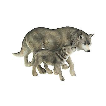 Lifelike Grey Wolf Mother and Child Tabletop Statue
