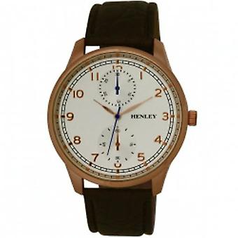 Henley Gents Chrono Effect Rose Goldtone Brown PU Strap City Watch H01015.44