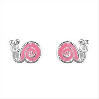 TOC Girls Sterling Silver Pink Snail Stud Earrings 8mm
