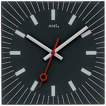 AMS 9575 Seinäkello Kvartsi analoginen lasi musta neliö hiljainen tikittämättä