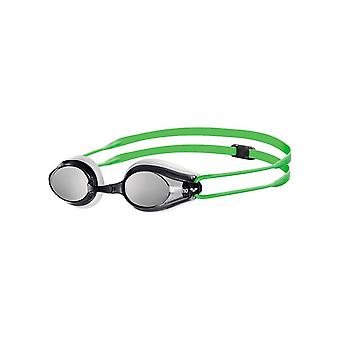 Arena Tracks Mirror Swim Goggle - Mirrored Lens - White/Green
