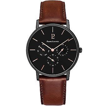 Pierre Lannier CITYLINE 209F434 - watch black man Brown Leather Bracelet black dial steel case