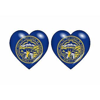 2x عصا ملصقا العلم القلب الولايات المتحدة الأمريكية نبراسكا