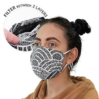 Double-layer streetwear mask with filter bag + 3 filters black and white