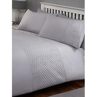 Porto Duvet Cover and Pillowcase Bed Set - Double, Grey