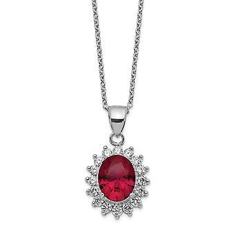14.19mm Cheryl M 925 Sterling Silver CZ Cubic Zirconia Gesimuleerde Diamond en Lab gemaakt Ruby Ketting 18,25 inch sieraden