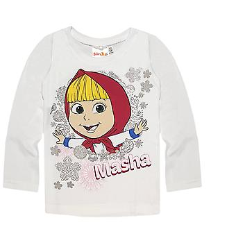 Masha and the bear girls t-shirt white