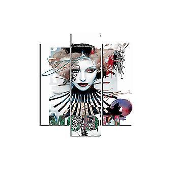 Quadro Girl 49 Multicolore in MDF, L19xP0,3xA50 cm (2 Pezzi), L19xP0,3xA60 cm (1 Pezzo)