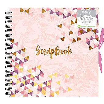 Pink Mosaic Triangle Design Spiral Bound Photo Album Scrapbook 40 Sheets 25 x 25cm