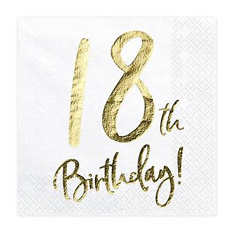 18th Birthday Paper Party Birthday Napkins x 20 White and Gold