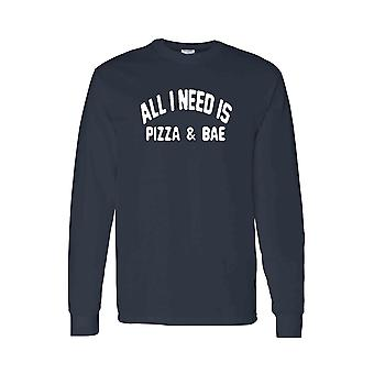 Men's Long Sleeve Shirt All I Need Is Pizza And Bae