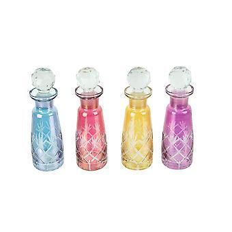 Ensemble de 4 bouteilles de parfum décoratives en verre coupé coloré avec bouchons
