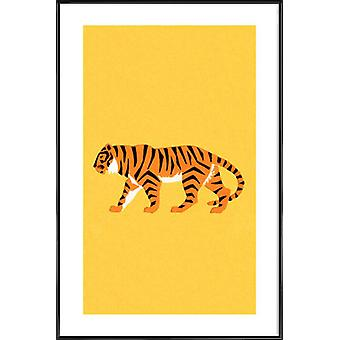 JUNIQE Print -  Tiger Yellow - Tiger Poster in Gelb & Orange