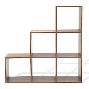 Rebecca Muebles Shelf Library Mdf 6 Modern Brown Compartments 97.5x97.5x29